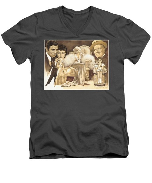 Hollywoods Golden Era Men's V-Neck T-Shirt by Dick Bobnick