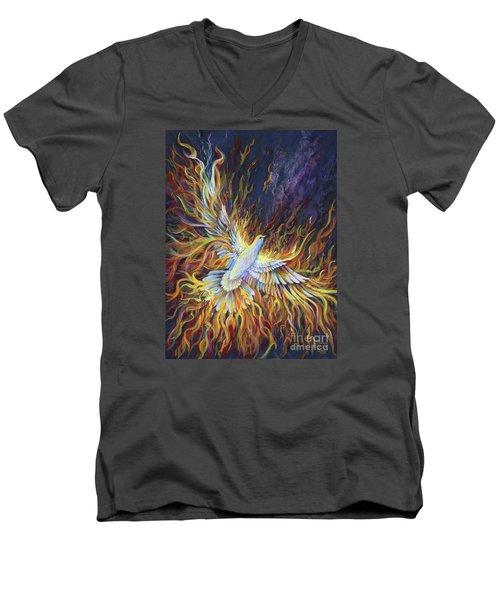 Holy Fire Men's V-Neck T-Shirt by Nancy Cupp
