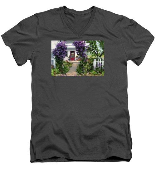 Home Men's V-Neck T-Shirt by Bruce Morrison