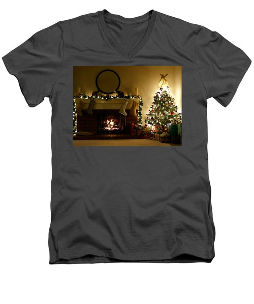 Home For The Holidays Men's V-Neck T-Shirt by Ellen Henneke