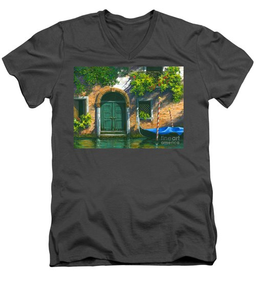 Men's V-Neck T-Shirt featuring the painting Home Is Where The Heart Is by Michael Swanson