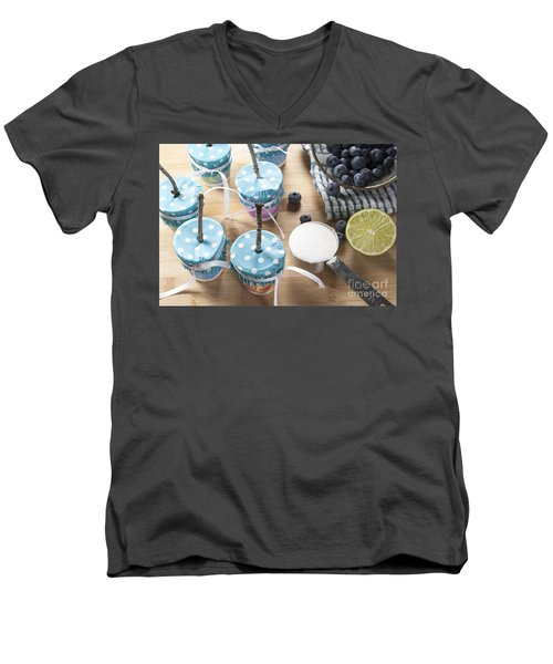 Homemade Blueberry Popsicles Men's V-Neck T-Shirt by Juli Scalzi