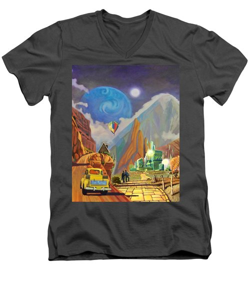 Men's V-Neck T-Shirt featuring the painting Honeymoon In Oz by Art West