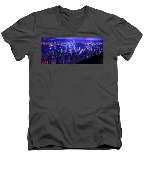 Hong Kong In Purple Men's V-Neck T-Shirt