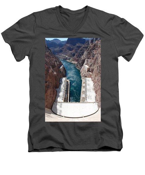Men's V-Neck T-Shirt featuring the photograph Hoover Dam Black Canyon by John Schneider
