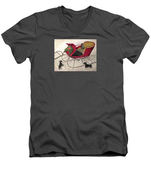 Hoping For A Sleigh Ride Men's V-Neck T-Shirt by Angela Davies