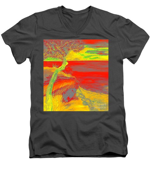 Horizon Men's V-Neck T-Shirt by Loredana Messina
