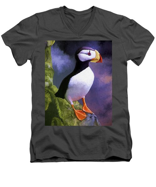 Horned Puffin Men's V-Neck T-Shirt by David Wagner