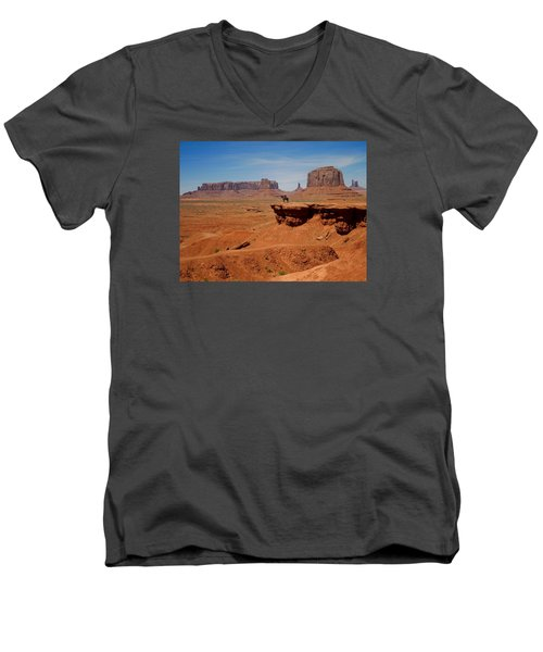 Horse And Rider In Monument Valley Men's V-Neck T-Shirt