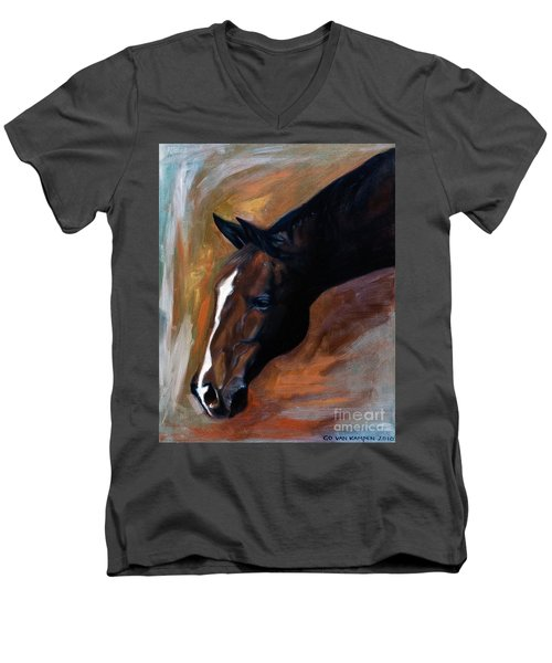 Men's V-Neck T-Shirt featuring the painting horse - Apple copper by Go Van Kampen