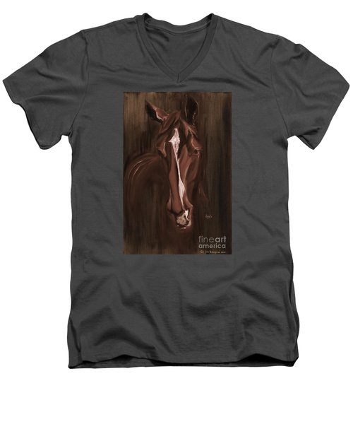 Horse Apple Warm Brown Men's V-Neck T-Shirt by Go Van Kampen