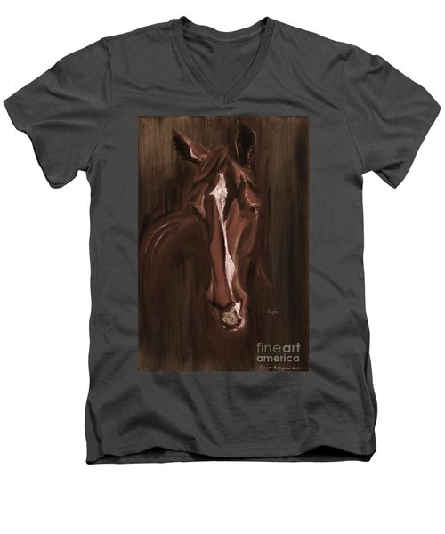 Horse Apple Warm Brown Men's V-Neck T-Shirt