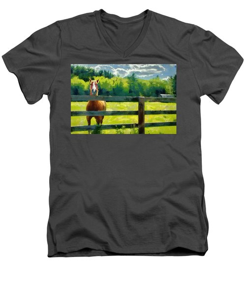 Men's V-Neck T-Shirt featuring the painting Horse In The Field by Jeff Kolker