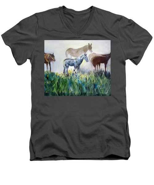 Horses In The Fog Men's V-Neck T-Shirt