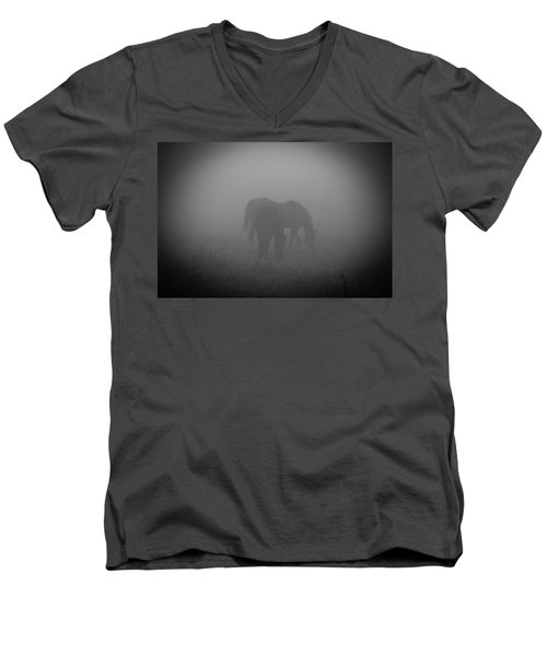 Men's V-Neck T-Shirt featuring the photograph Horses In The Mist. by Cheryl Baxter