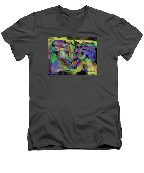 Men's V-Neck T-Shirt featuring the painting Horses Together In Colour by Go Van Kampen