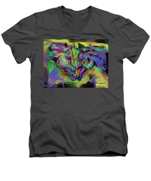 Horses Together In Colour Men's V-Neck T-Shirt