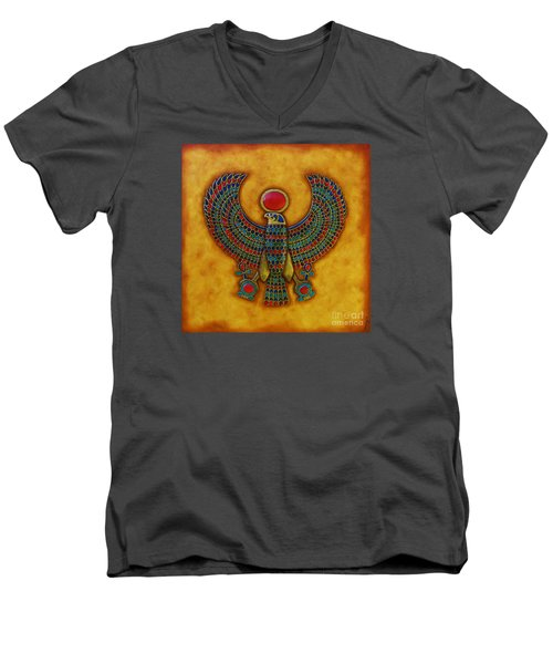 Men's V-Neck T-Shirt featuring the mixed media Horus by Joseph Sonday