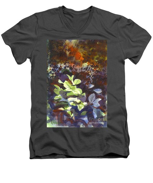 Hostas In The Forest Men's V-Neck T-Shirt by Kip DeVore