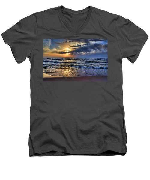 Hot April Sunset Saugatuck Michigan Men's V-Neck T-Shirt