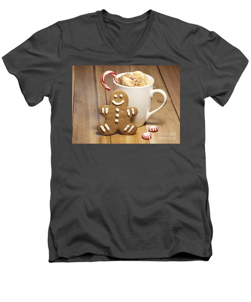 Hot Chocolate Toasted Marshmallows And A Gingerbread Cookie Men's V-Neck T-Shirt