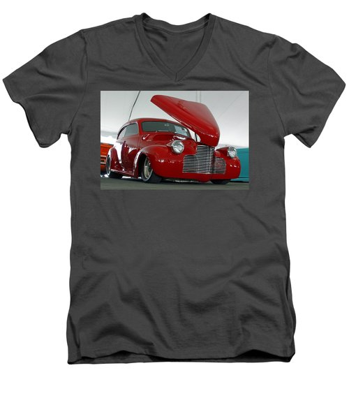 Men's V-Neck T-Shirt featuring the photograph Hot In Red by Shoal Hollingsworth