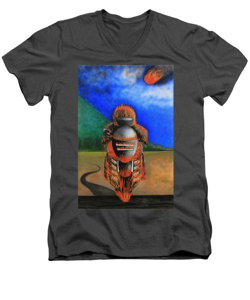 Men's V-Neck T-Shirt featuring the painting Hot Moto by Tim Mullaney