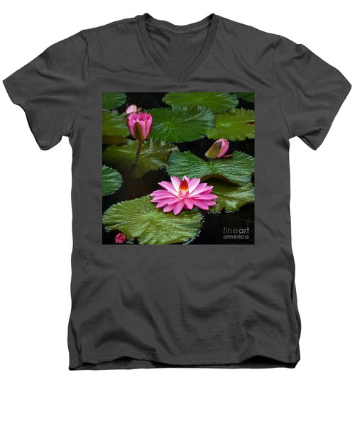 Hot Pink And Green Tropical Waterlilies Men's V-Neck T-Shirt