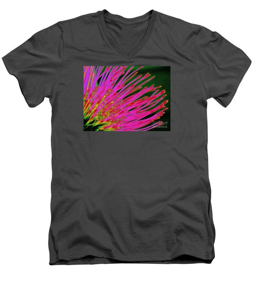 Hot Pink Protea Men's V-Neck T-Shirt