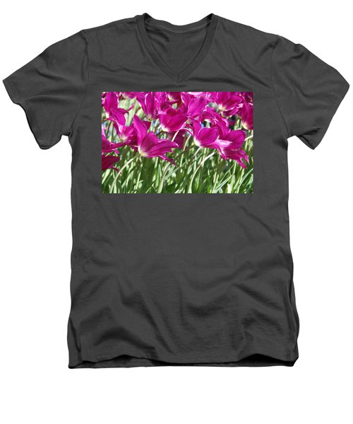Men's V-Neck T-Shirt featuring the photograph Hot Pink Tulips 2 by Allen Beatty