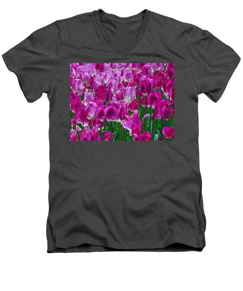 Hot Pink Tulips 3 Men's V-Neck T-Shirt by Allen Beatty