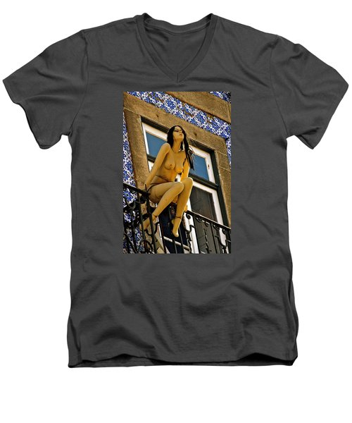 Hot Summer Day In Portugal Men's V-Neck T-Shirt by Michael Cinnamond