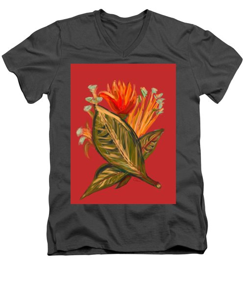 Men's V-Neck T-Shirt featuring the digital art Hot Tulip L by Christine Fournier