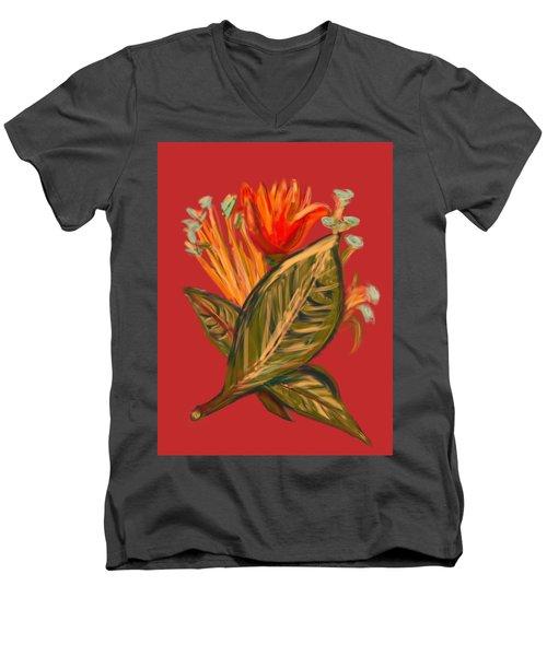 Men's V-Neck T-Shirt featuring the digital art Hot Tulip R by Christine Fournier