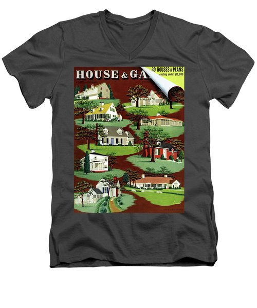 House & Garden Cover Illustration Of 9 Houses Men's V-Neck T-Shirt