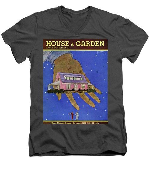House & Garden Cover Illustration Of A Giant Hand Men's V-Neck T-Shirt