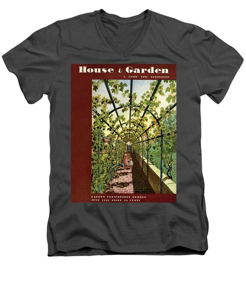 House & Garden Cover Illustration Of Young Girls Men's V-Neck T-Shirt