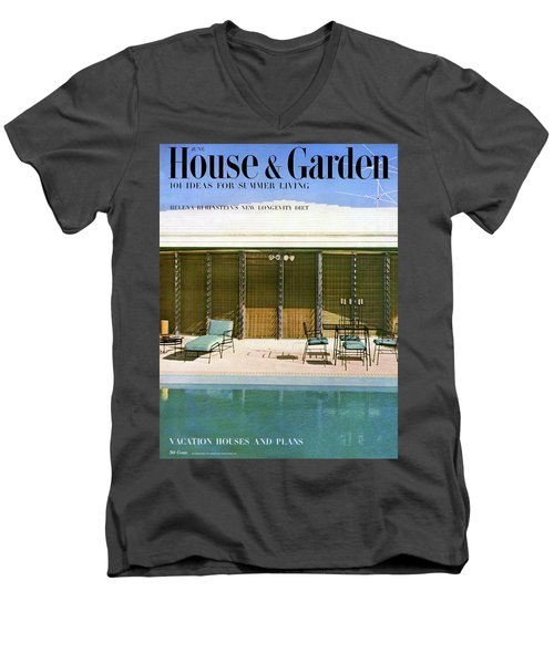 House & Garden Cover Of A Swimming Pool At Miami Men's V-Neck T-Shirt