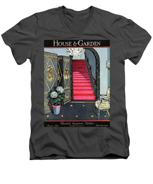 House And Garden Household Equipment Number Cover Men's V-Neck T-Shirt