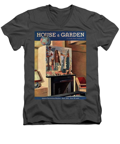 House And Garden Interior Decoration Number Cover Men's V-Neck T-Shirt
