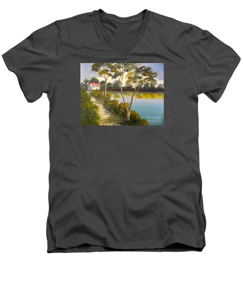 House By The Lake Men's V-Neck T-Shirt by Pamela  Meredith