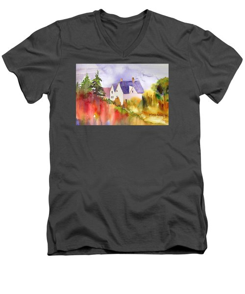 Men's V-Neck T-Shirt featuring the painting House In The Country by Yolanda Koh
