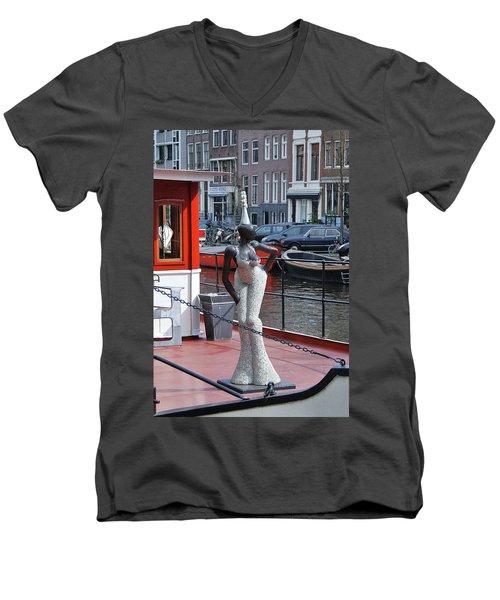 Men's V-Neck T-Shirt featuring the photograph Houseboat Chanteuse by Allen Beatty