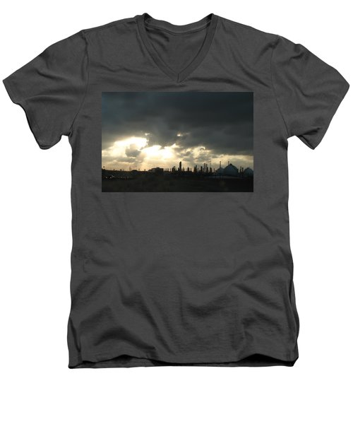 Houston Refinery At Dusk Men's V-Neck T-Shirt by Connie Fox
