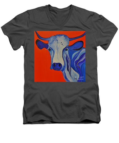 How Now Blue Cow Men's V-Neck T-Shirt by Janice Rae Pariza