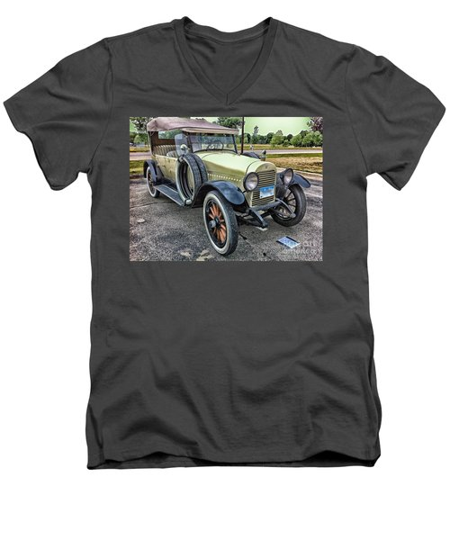 Men's V-Neck T-Shirt featuring the photograph hudson 1921 phaeton car HDR by Paul Fearn