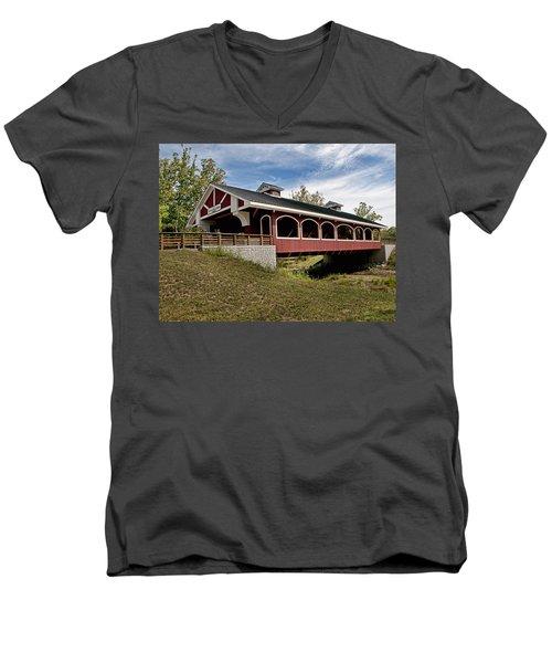 Hueston Woods Covered Bridge Men's V-Neck T-Shirt