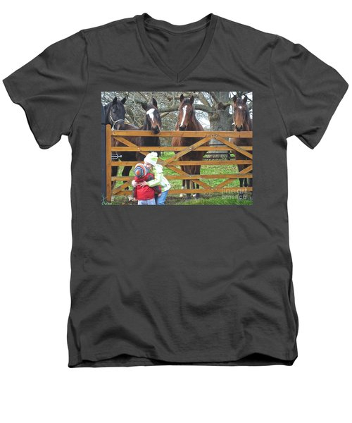 Hugs And Kisses Men's V-Neck T-Shirt by Suzanne Oesterling