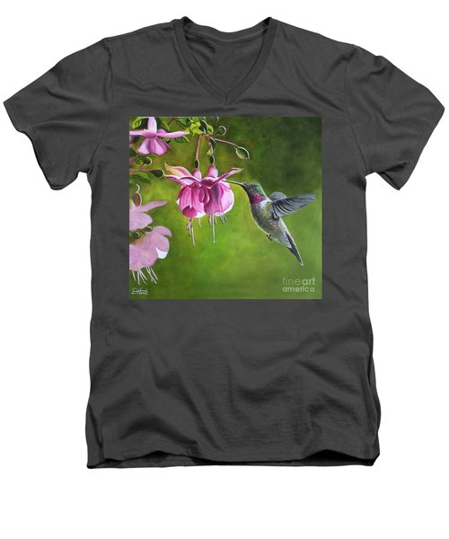 Hummingbird And Fuschia Men's V-Neck T-Shirt by Debbie Hart