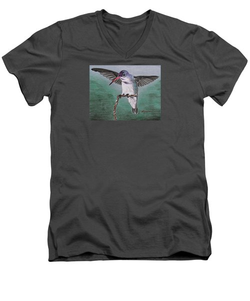 Men's V-Neck T-Shirt featuring the drawing Hummingbird by Kume Bryant